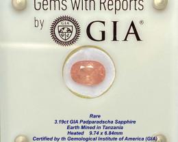 3.19ct GIA Padparadscha Sapphire - Pinkish orange / 9.74x 6.84mm /Certified