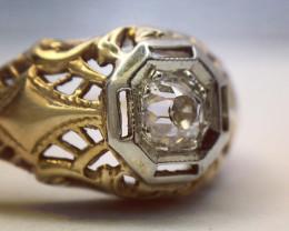 0.15 Ct Antique Edwardian VVS O-P Old Mine Cut Diamond 14K Gold Ring