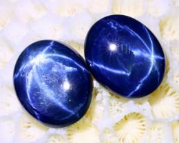 Blue Star Sapphire 7.40Ct 2Pcs 6 Rays Natural Blue Star Sapphire C0723