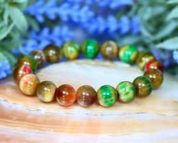 10.0mm 136.00Ct Natural Fancy Tiger Eye Beads Bracelet C0736