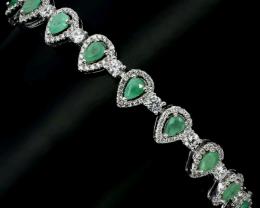Stunning 70tcw. Brazilian Emerald Bracelet Untreated Retail $1500