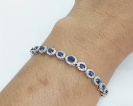 Stunning 65.9tcw. Natural Blue Sapphire Bracelet Heated Retail $1700