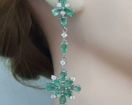 Stunning 8.45 tcw. Natural Colombian Emerald Earrings Untreated