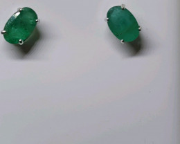 Stunning 1.32 tcw. Natural Brazilian Emerald Earrings Untreated Retail $500