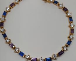 Stunning 59.25tcw. Nat Amethyst, blue spinel cz Bracelet Uruguay