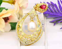 Pearl Natural Solid 925 Sterling Silver Yellow Gold Finish Pendant RM63