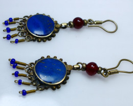 47.50 Cts Natural & Unheated~Blue Lapis Lazuli Earrings