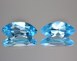 ~PAIR~ 4.55 Cts Natural Baby Blue Topaz 11 X 6mm Marquise Cut Brazil