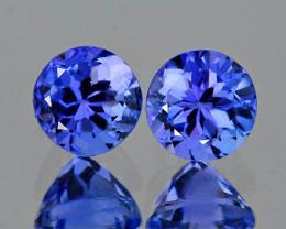 4.00 mm Round 2 pcs 0.69ct Purple Blue Tanzanite [VVS]