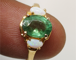 Wonderful $ 1900 2.65 cts. Nat Emerald and Ring 10K Sol YG