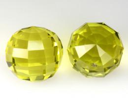 7.08Cts Genuine Natural Lemon Quartz Round Faceted Ball Matching Pair