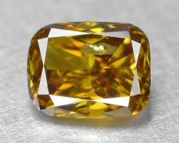Diamond 0.11 Cts Sparkling Untreated 100% Natural Fancy Vivid  OrangeYellow