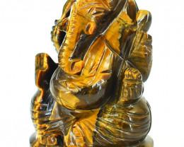 Genuine 795.00 Cts Tiger Eye Carved Ganesha