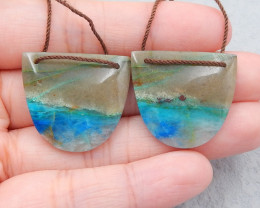 D2539 - 44.5cts natural chrysocolla earrings bead pair,handmade gemstones,g