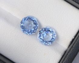 High Clean 3.30 ct Santamaria Color Aquamarine Pair Earing Size~R