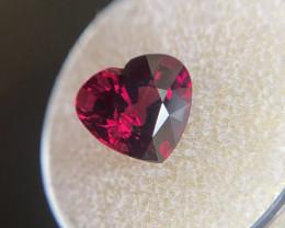 FINE 4.21ct Vivid Purple Red Rhodolite Garnet Heart Cut 10x9mm Loose Rare G