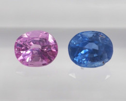 1.11ct unheated pink and  blue sapphire