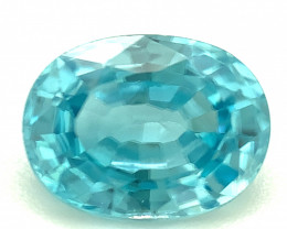 2.0ct Blue Zircon from Cambodia, VVS, Oval, Natural Gemstone