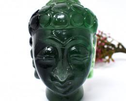 Genuine 2681.00 Cts Green Fluorite Buddha Head