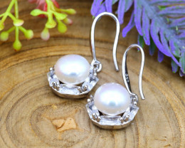 24.26Ct Natural South Sea White Pearl Sterling Silver Earrings SB869
