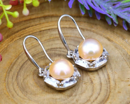 22.95Ct Natural South Sea White Pearl Sterling Silver Earrings SB870