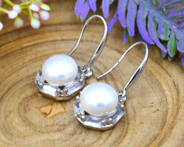 24.11Ct Natural South Sea White Pearl Sterling Silver Earrings SB876