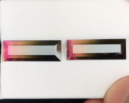 7.50 Ct Natural Bi Color Transparent Tourmaline Gemstones Pairs