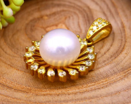 20.70Ct Natural South Sea White Pearl Sterling Silver Pendant SB895