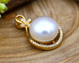 16.00Ct Natural South Sea White Pearl Sterling Silver Pendant SB898