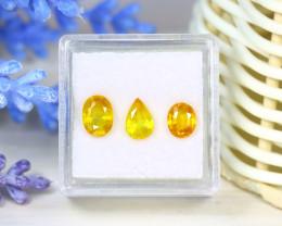 Sapphire 3.05Ct 3Pcs Natural Thailand Yellow Color Sapphire SB955