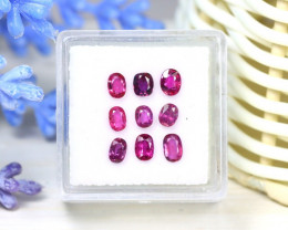 Red Ruby 2.05Ct 9Pcs Oval Cut Siamese Pigeon Blood Red Ruby SC40
