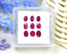 Red Ruby 2.05Ct 9Pcs Oval Cut Siamese Pigeon Blood Red Ruby SC44