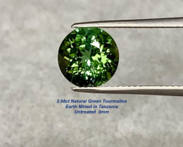 2.98ct Green Tourmaline - Tanzania / Untreated / 9.0 x 6.3mm