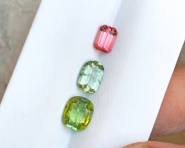 5 Carats Natural Tourmaline, Rutile Peridote and Rubellite Cut Stones from