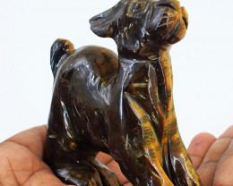 Genuine 1040.00 Cts Tiger Eye Carved Dog