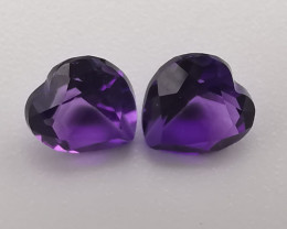 Amethyst pair, 0.8ct in in heart shape, perfect for earrings!