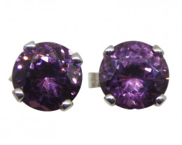1.01ct Round Purple Spinel Stud Earrings set in 14kt White Gold
