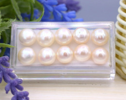 37.92Ct 9mm Natural Freshwater Cultured Creamy White Pearl Lot SC607