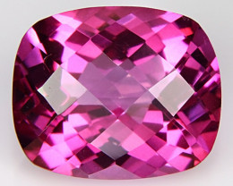 3.99Cts Genuine Amazing Natural Pink Topaz 10x8mm Cushion Checker Cut
