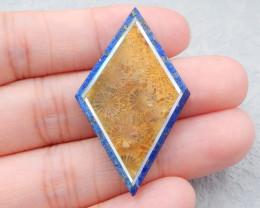 D2598 - 25 Cts Natural Lapis Lazuli ,Coral,Shell Intrasia Cabochon