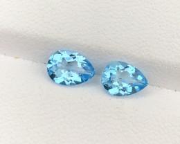 Natural Sky Blue Topaz Pair 1.76 CTS Gems