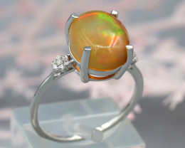 Opal 2.60Ct Natural Ethiopian Rainbow Flash Welo Opal Silver Ring SD165