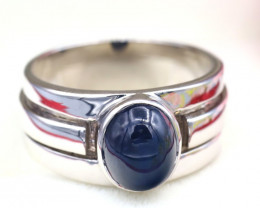 Star Sapphire 4.85Ct Natural 6Rays Blue Star Sapphire Silver Ring SD171