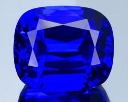 Flawless 37 Ct Royal Blue Tanzanite Brilliant Cushion Cut Gemstone