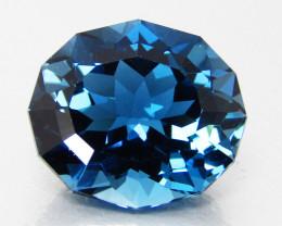 7.00Cts Sparkling Natural London Blue Topaz Oval Custom Cut Loose Gem