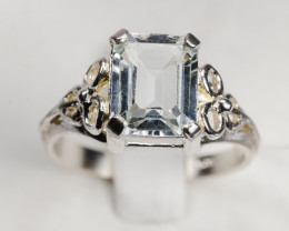 Size 8 Sterling Silver Aquamarine Ring