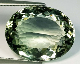 22.63 ct Top Quality Gem Oval Cut Natural Green Amethyst
