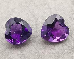 Amethysts, 0.86ct, deep purple but energetic hearts!