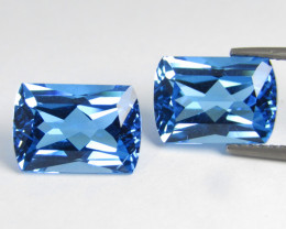6.24Cts Sparkling Natural Swiss Blue Topaz Fancy Radiant Cut Pair