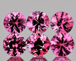 3.00 mm Round 6 pcs 0.70ct Intense Pink Sapphire [VVS]